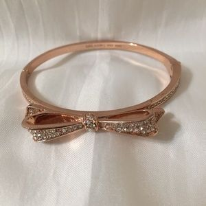 Kate Spade Gold Tone Bow Pave Bangle Bracelet